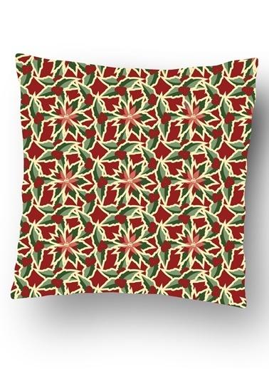 Lyn Home & Decor Kış Kırmızı Yeşil Çiçek Yastık Kılıfı Renkli